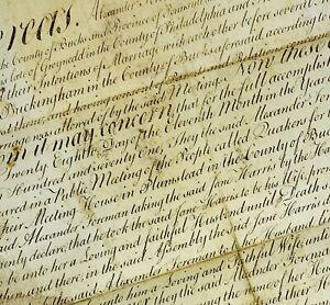 1771 Quaker Marriage Manuscript Plumstead Bucks County Alexander & Jane Forman
