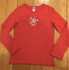 Gap Girls Long Sleeve Shirt Snowflake With Logo Size Large (10)