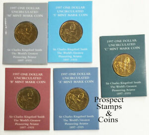 1997 Kingsford Smith- $1 Mintmark Australian UNC Coins (C, S, B, M, A) - 5 coins
