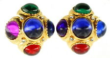 Vintage Big Multi Green Blue Red Purple Cab Glass Majestic Clip Earrings 1.5""