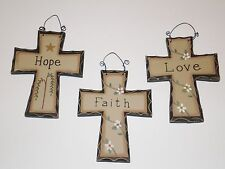 Primitive Carved look Cross  s/3~ 1 of each~HOPE, FAITH LOVE~Country Home decor