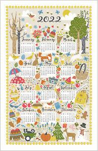Ulster Weavers Seasonal 2022 Calendar Cotton Tea Towel Hare Bird Bee Xmas UKMADE