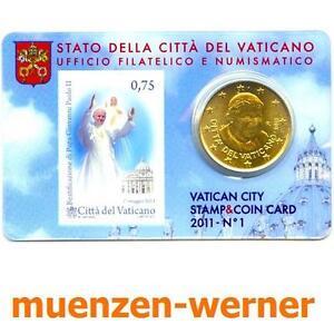 Coincard Vatikan 2011 Nr.1 50 Cent Euro Münze Kursmünze + 75 Eurocent Briefmarke