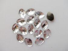 15pz  abbellimenti CABOCHON ovale  in Acrylic  18x13x4mm colore trasparente