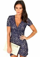Missguided Loannah Lace Wrap Party Dress In Navy Blue UK 10 BNWT