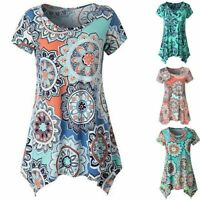 Women Casual Printed Sleeveless Shirt Asymmetrical Loose Tunic Blouse Vest Tops