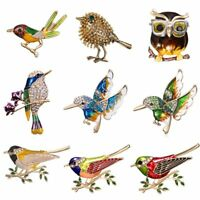 Lovely Bird Owl Crystal Rhinestone Animal Brooch Pin Womens Jewellery Party Gift