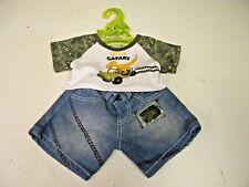 Build A Bear Clothes Boys Dino Shirt and denim Shorts Hanger