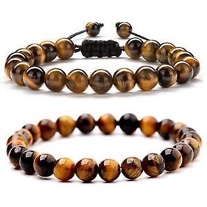 2 PCS Mens Women Tiger Eye Rock Stone Anxiety Stress Relief Adjustable Bracelets