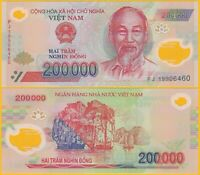Vietnam 200000 (200,000) Dong p-123 2019 UNC Polymer Banknote