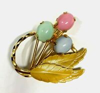 Vintage Gold Plated Enamel Floral Brooch w Pastel Cabochon Stones Yellow Leaves