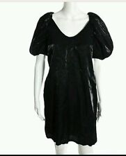 VERTIGO PARIS Black Dress Cocktail Party Puffed Sleeves European Chic  Size M