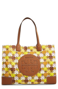 💚 Tory Burch Large Ella Floral Printed Logo Tote Shopper Bag Handbag Purse NWT