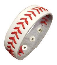 White Leather Baseball Seam Bracelet Wristband Jewelry, Large