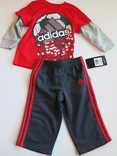 Nwt Adidas Boys 12M Long Sleeve Shirt Long Pants Set Athletic Red Gray Soccer