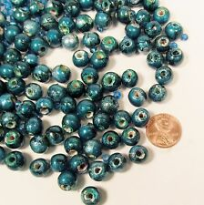 120 Wood 10MM Round Spacer Craft Beads Handpainted Teal FREE GLASS SEED BEADS