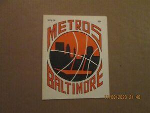 CBA Baltimore Metros Vintage Defunct Circa 1978-79 Team Logo Program