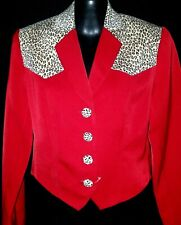 Ladies Jacket sz XS SCULLY RED w leopard accent holiday dress & more never worn