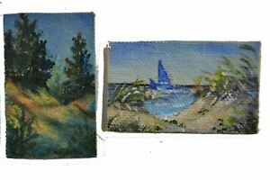 "2"" x 1 1/4"" Sailboat Ocean Beach Miniature Mini Dollhouse Painting Handpainted"