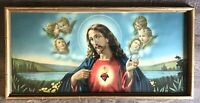 """Vintage Religious Picture Sacred Heart of Jesus Angels Vibrant  32"""" x 16"""""""