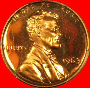 1963 LINCOLN CENT PCGS PR67RD    SUPERB !!    ** shipping included **