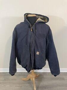 Carhartt FR Cat4 Flame Resistant Navy Blue Hooded Canvas Jacket Men Size XL