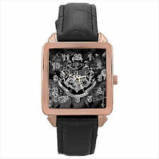 NEW HARRY POTTER HOGWARTS SCHOOL Rose Gold Leather Strap Square Wrist Watch D02