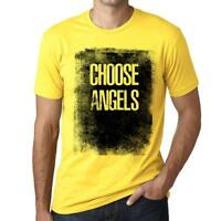 Men's Vintage Tee Shirt Graphic T shirt Choose ANGELS Pale Yellow