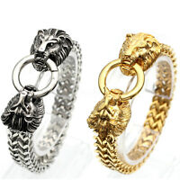 Amazing Stainless Steel Lion Heads Franco Cuban Chain Silver /Gold Mens Bracelet