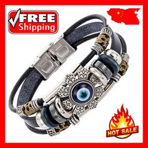 Men New Punk Stainless Steel Leather Turkish Lucky Eye Wristband Bangle Bracelet