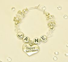 1X PERSONALISED ' HAPPY RETIREMENT ' SILVER & CRYSTAL WINE GLASS CHARM gift idea