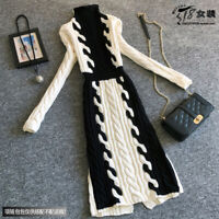 New Women Twist Knitted Sweater Dresses Long Turtleneck Occident Winter Pullover