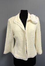 ST. JOHN NWT Beige White Wool Blend Textured Clasp Front Blazer Jacket 14 GG5211