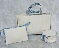 NEW Set (4) Nested Waffle Weave COSMETIC BAG Spa Yoga Make Up Purse Cream Blue