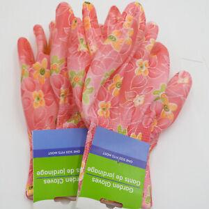 Garden Gardening Yard Gloves Nitrile Dipped Anti-Slip Knit Wrist 2Pairs