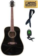 LEFTY Oscar Schmidt Dreadnought 3/4 Size Black Acoustic Guitar FREE STRAP TUNER,