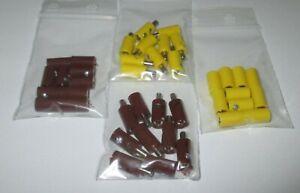 40 Stecker/Querlochstecker und Muffen 2,6mm - gelb,braun (Stck 29,63 ct)  *NEU*