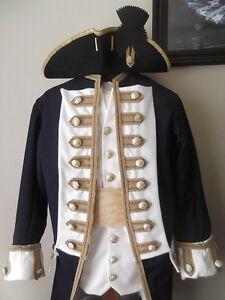 Custom Made 4pc. Colonial uniform coat vest shirt breeches