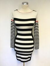 KAREN MILLEN  BLACK & WHITE STRIPE LONG SLEEVE STRETCH KNIT DRESS SIZE 1 UK 8/10
