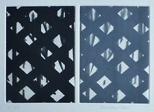 """Carole Seborovski """"Diptych/Silver and black weave"""" HAND SIGNED ETCHING US ARTIST"""