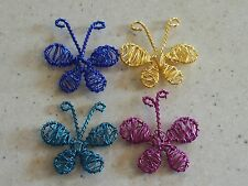 4 Large Wired Design Butterfly Charm Embellishments 46x42mm FREE P&P