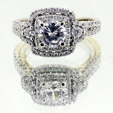 2.00 Ct Round Cut Diamond Engagement Ring Double Halo split shank 18k