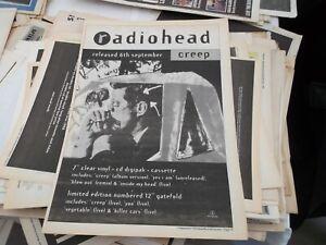 RADIOHEAD CREEP SINGLE  RELEASE POSTER 1993 FRAMING