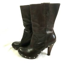 Michael Kors Studded Brown Leather Boots US Size 10 Mid Calf High Wood Heels