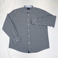 Untuckit Men's L Blue Gingham Button Front Long Sleeve Shirt EUC