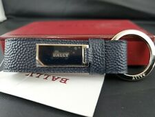 Bally Laket /747  New Blue Brass/ Calf Chrome KeyChain Key Holder MSRP $200