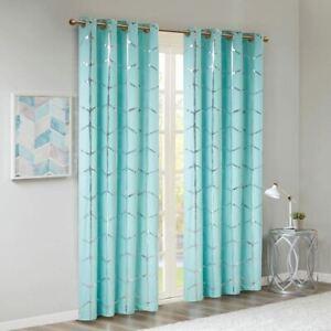 "Luxury Aqua Blue Geometric Metallic Silver BLACKOUT Window Panel- 50x84"""