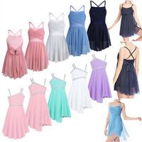 Girls Lyrical Dance Leotard Dress Ballet Irregular Skirt Dancewear Tutu Costume