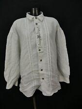 Gr.XL Trachtenhemd Hemd Alphorn weiß leichtes Leinen Edelweiß Stickerei TH1200