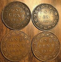 LOT OF 4 KING EDWARD VII CANADA LARGE CENT COIN PENNY